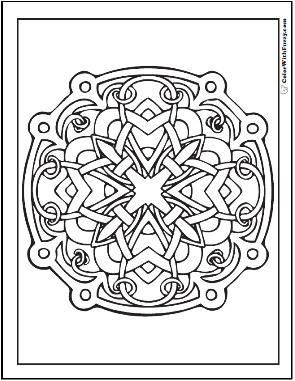 ColorWithFuzzy.com Celtic Coloring Pages: Coloring Celtic Designs Wheel
