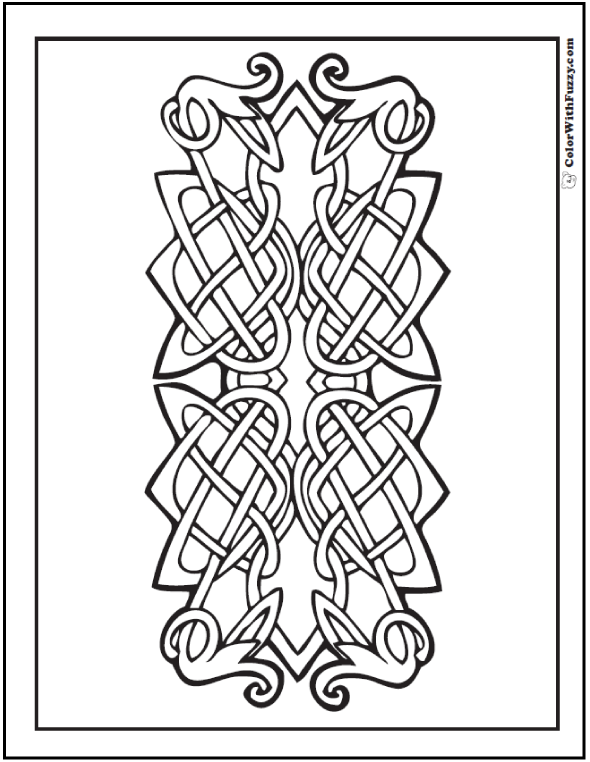 ColorWithFuzzy.com Celtic Knot Designs: Vine Motif Coloring Celtic Knots