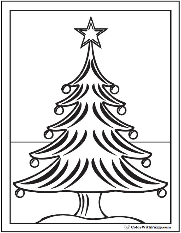Coloring Christmas Tree: Star, tree skirt, Christmas ornaments.