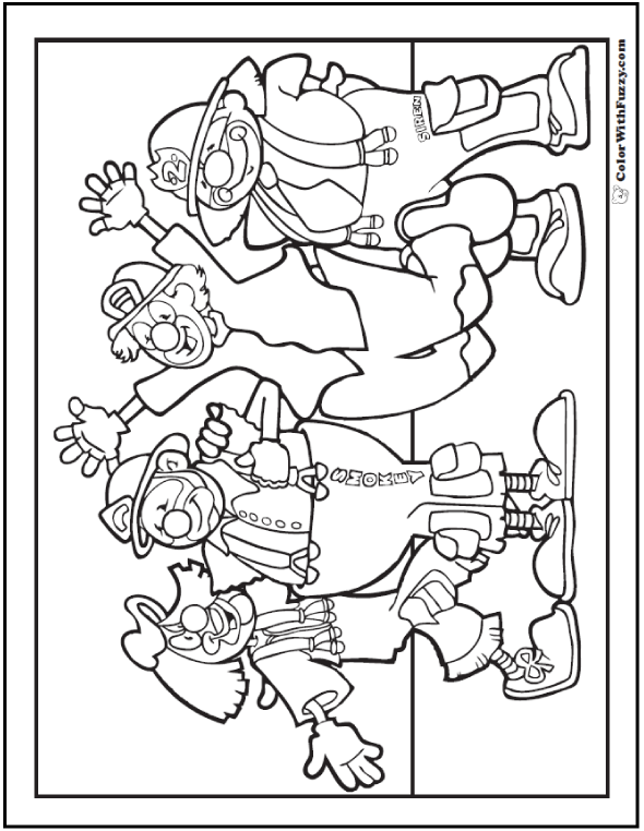 Firemen Clowns Coloring Sheet