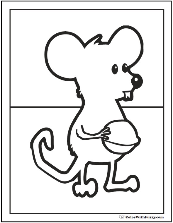 Coloring picture of a mouse with a nut.