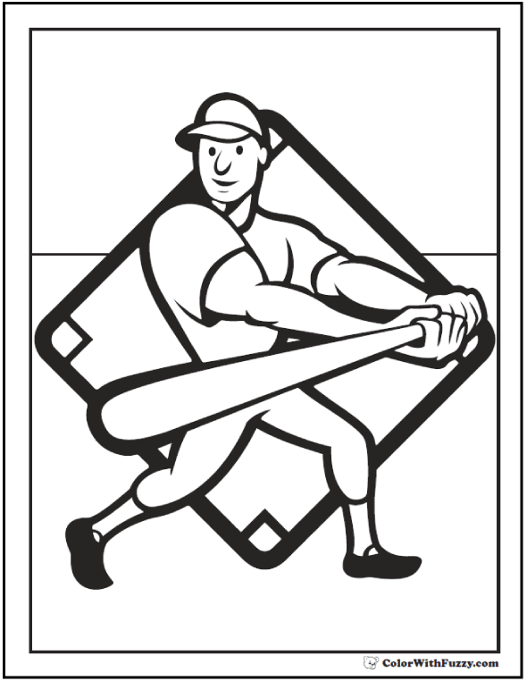 Baseball Batter Coloring Sheet: Swing the bat.