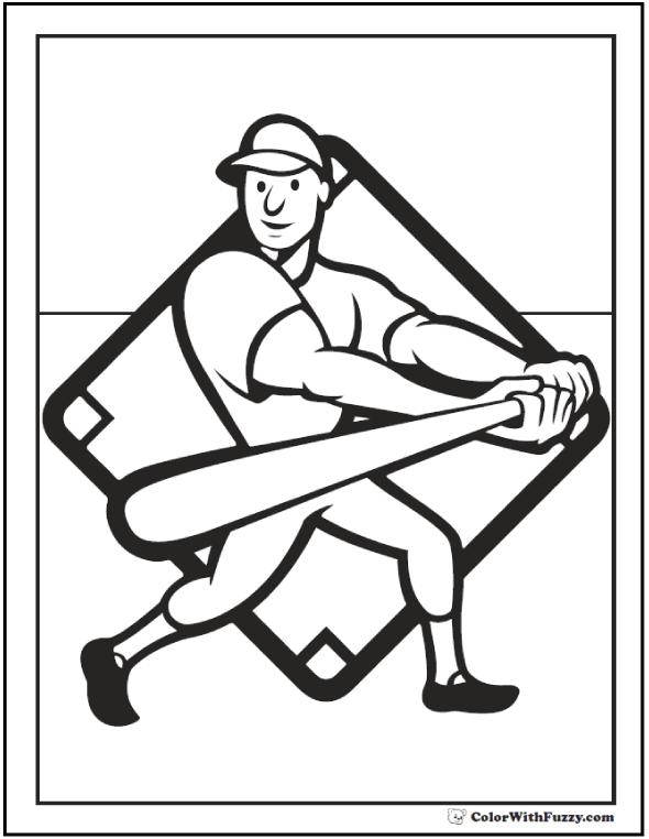 Baseball Batter Coloring Sheet: Swing the bat.