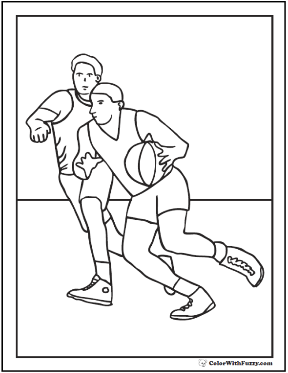 Offensive Defensive Basketball Coloring Sheet
