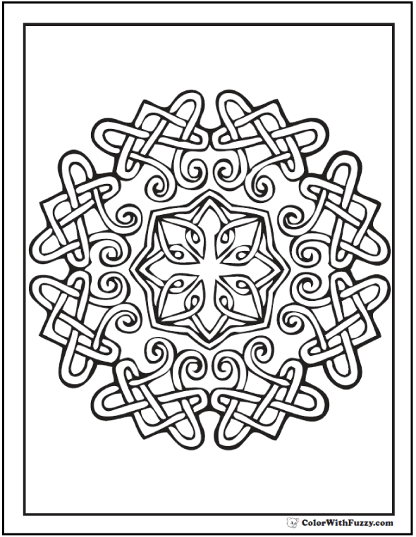 ColorWithFuzzy.com Celtic Designs:  Round Pattern Coloring Page Celtic
