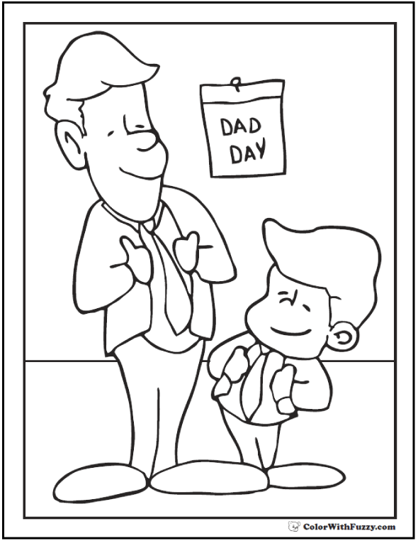 Father's Day: Father and Son  #FathersDayColoringPages and #KidsColoringPages at ColorWithFuzzy.com