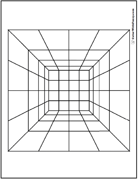 Coloring Page Geometric: Inside a cube? Looking down on a pyramid? Optical illusion.