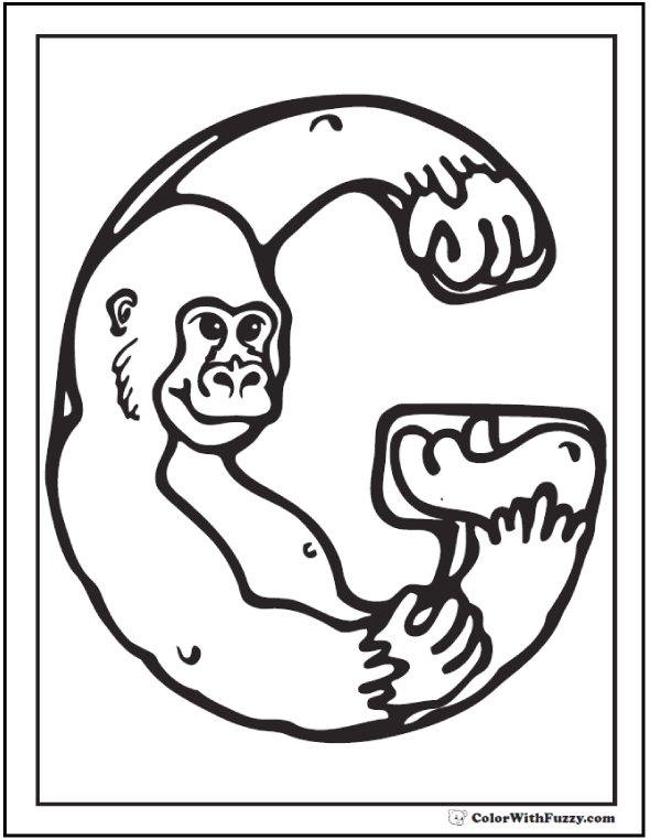 G is for gorilla coloring theme.
