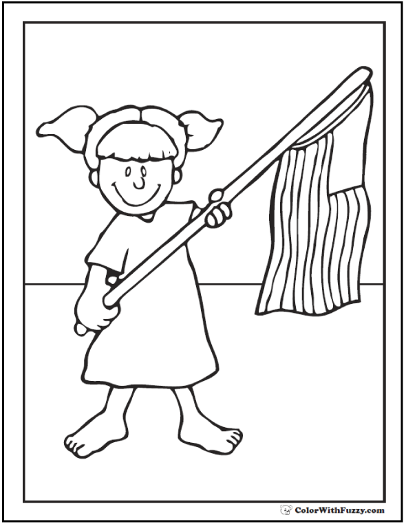 Girl Fourth of July coloring page.