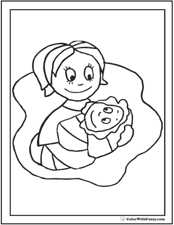 Mom Holding Baby Coloring Page