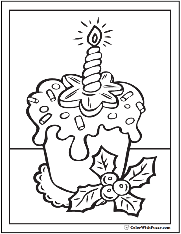 Coloring Page of Christmas Cupcake
