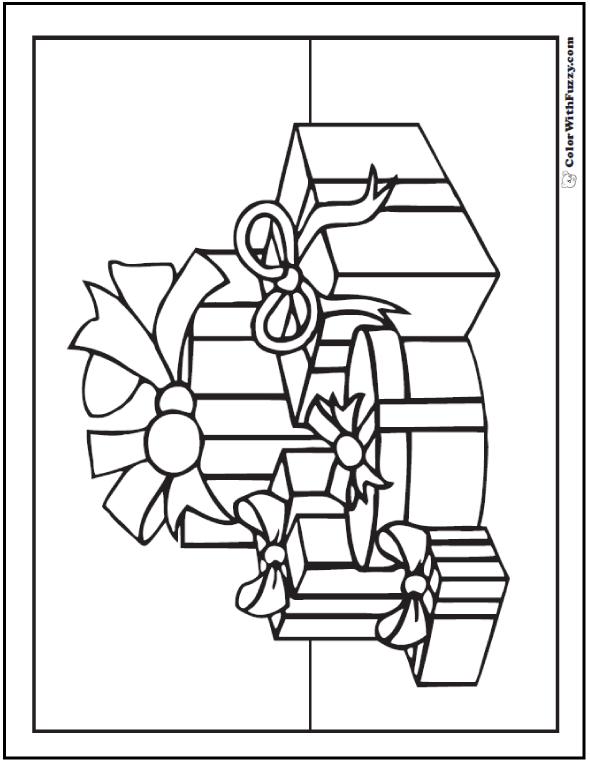 Coloring Page Of Gifts: Count five.