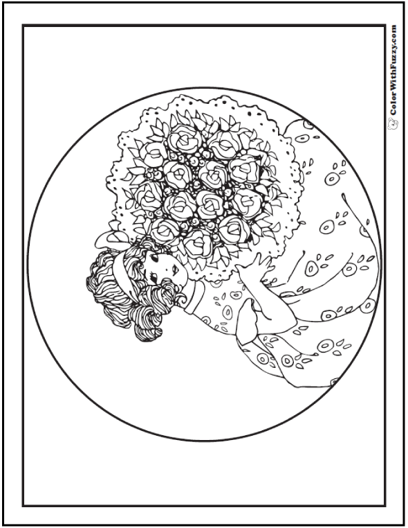 Coloring Page of girl with bouquet of roses