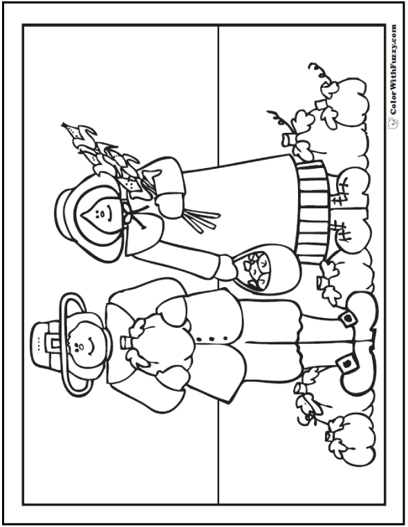 Coloring Page Pilgrims: Apples, Corn, and Pumpkins.