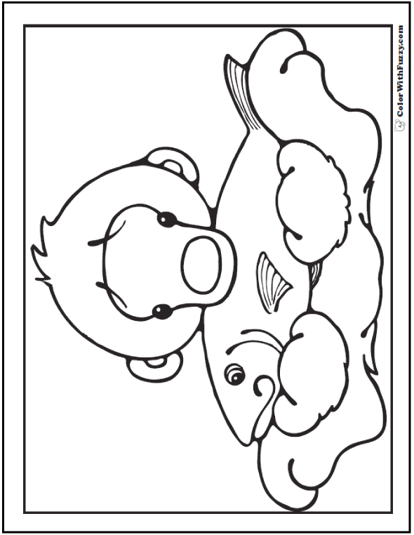 Cute Polar Bear With Fish: Polar bear coloring page.
