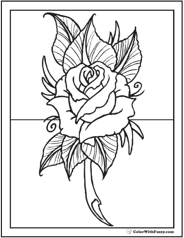 Coloring Page Rose and Leaves
