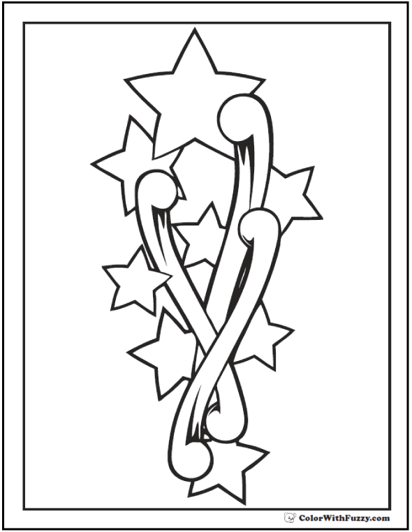 60 Star Coloring Pages Customize And Print Ad-free PDF