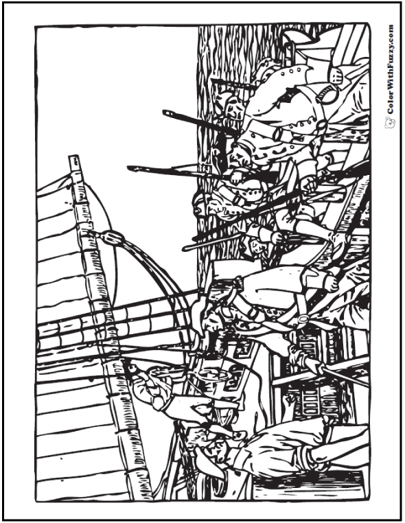 Adult Coloring Pages: Men working on a ship.