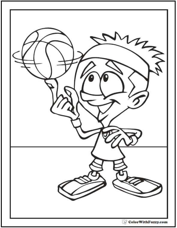 Spin The Basketball Coloring Sheet