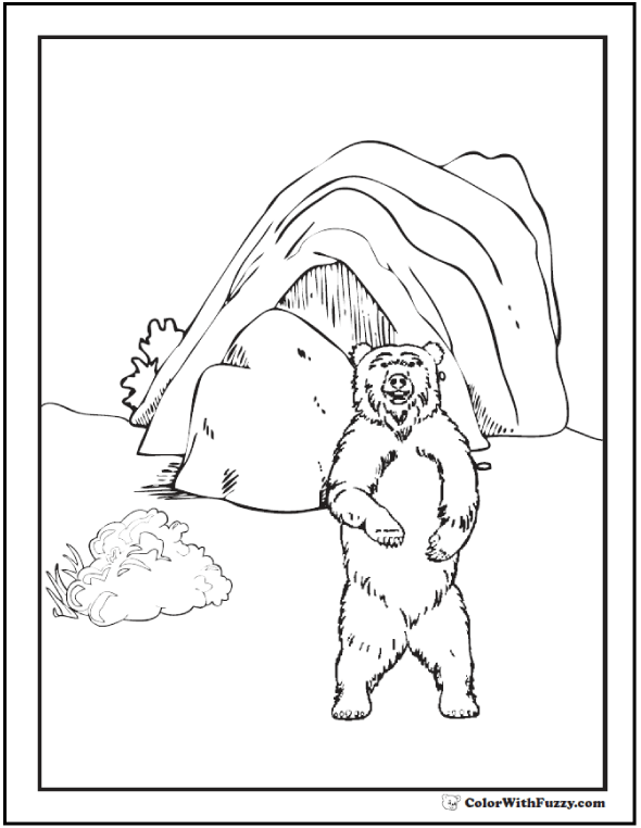 Coloring pages bear and den shows a grizzly brown bear for Bear in cave coloring page
