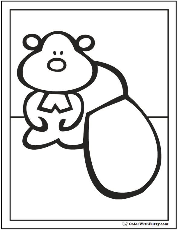 Cute beaver coloring page for preschool kids.