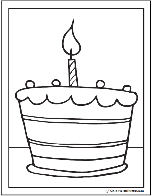 Coloring Pages Birthday Candle - Great for one year anniversary.