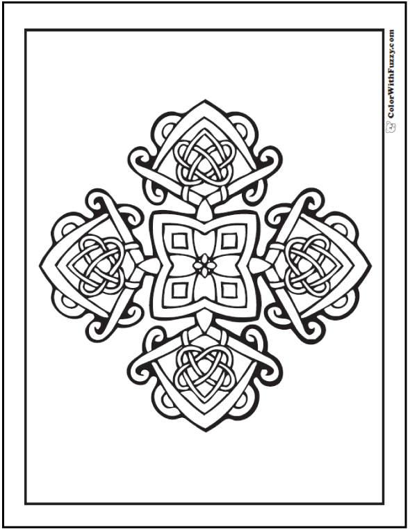 Coloring Pages Celtic Cross: Ornate flower and square design.