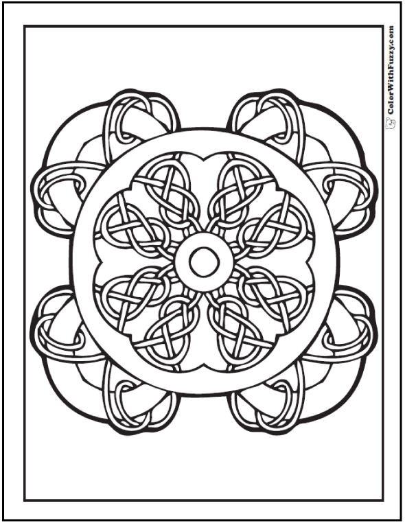 Coloring Pages Celtic Designs: Wheel of Celtic knots with center circle.
