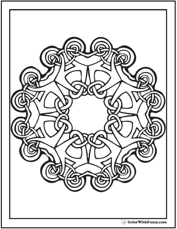 ColorWithFuzzy.com Celtic Coloring Pages: Celtic Circle Interlace