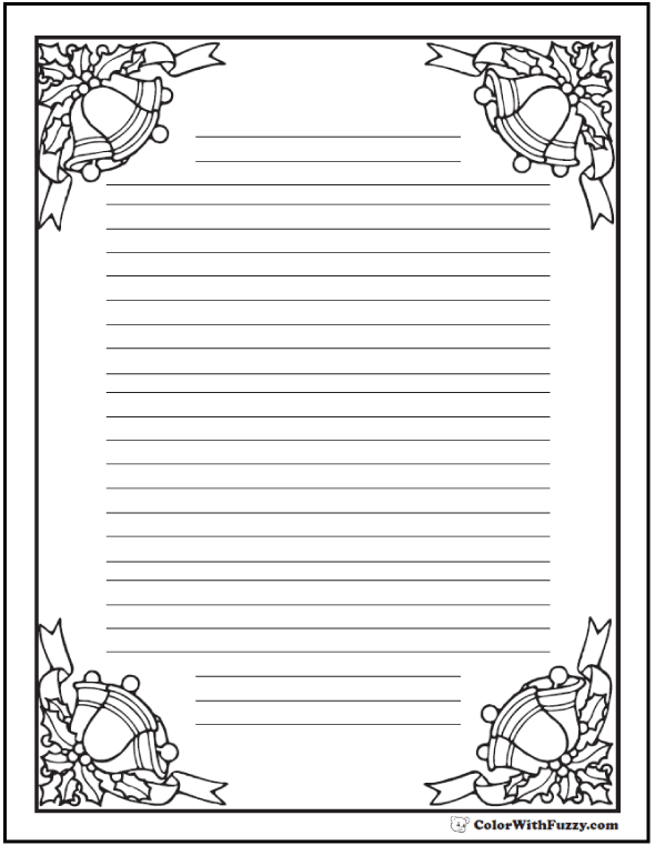 Coloring Pages: Christmas bells on printable writing paper.