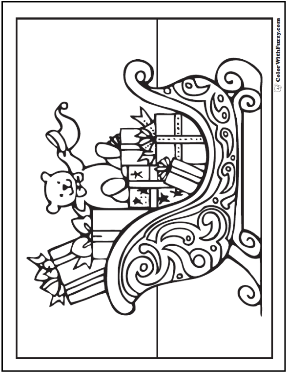 Coloring Pages Christmas: Santa's Sleigh with presents.