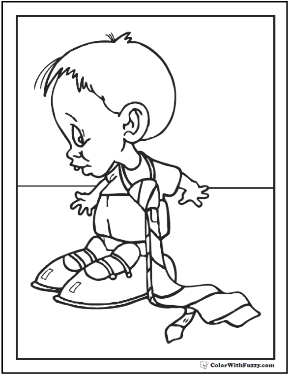 Little boy with Dad's tie Father's day page.  #FathersDayColoringPages and #KidsColoringPages at ColorWithFuzzy.com