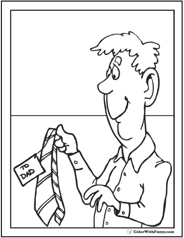 Coloring Pages for fathers: Tie for Dad.  #FathersDayColoringPages and #KidsColoringPages at ColorWithFuzzy.com