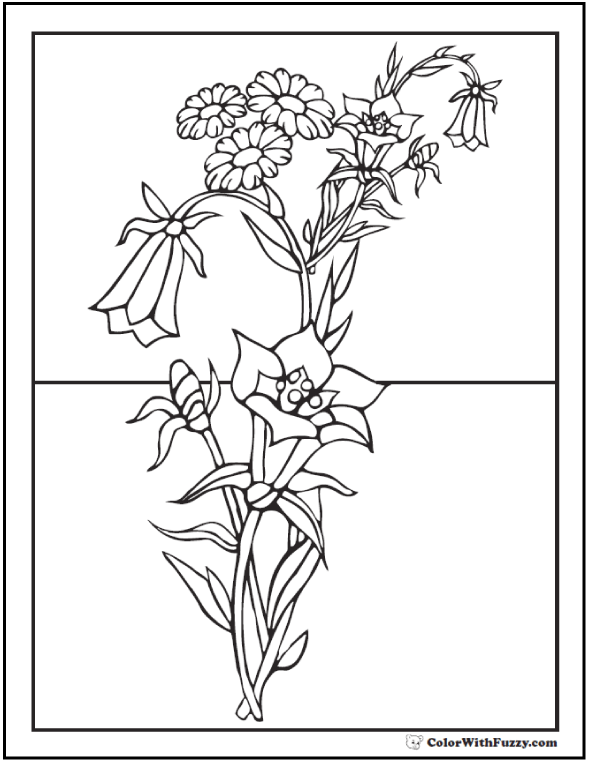 Roadside Flowers Coloring Page Bouquet