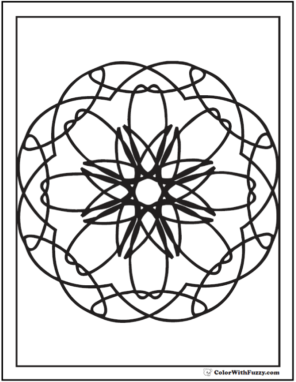 Adult Geometric Coloring Pages: Kaleidoscope design.