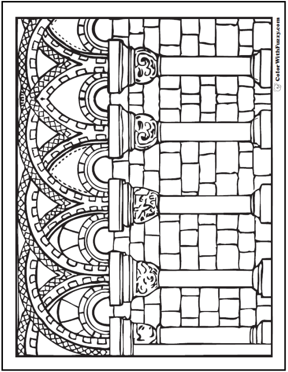 Arches And Columns Coloring Pages For Adults