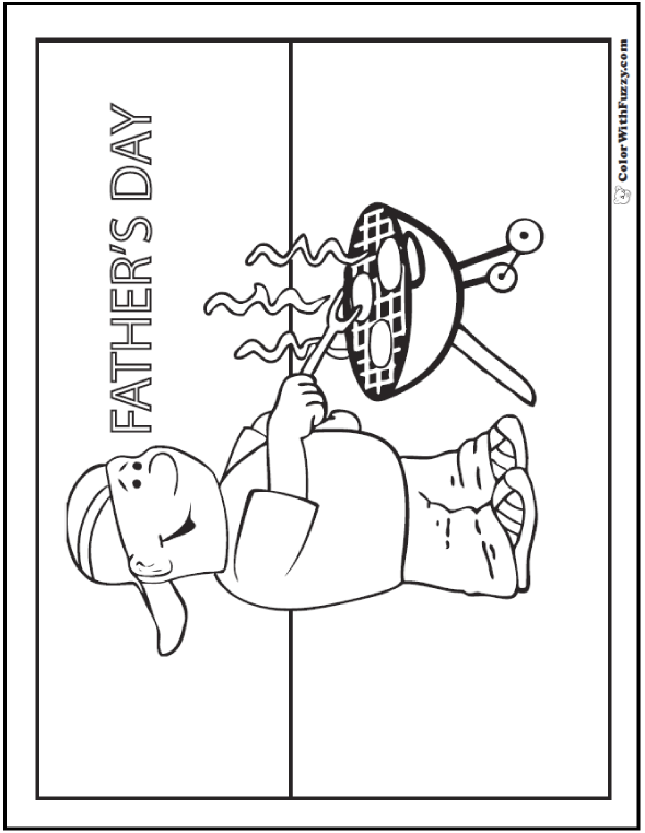 Coloring pages for fathers: I love helping Dad barbecue!  #FathersDayColoringPages and #KidsColoringPages at ColorWithFuzzy.com