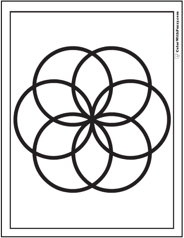 Venn diagram geometric coloring sheet. Fun daisy to color!