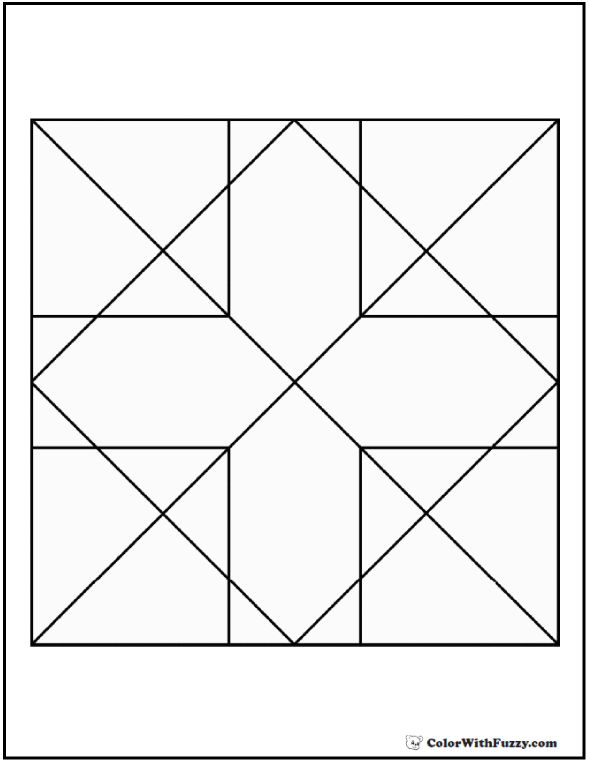 Geometric Cross Coloring Page: Cross, diamond, arrows, squares, and triangles.