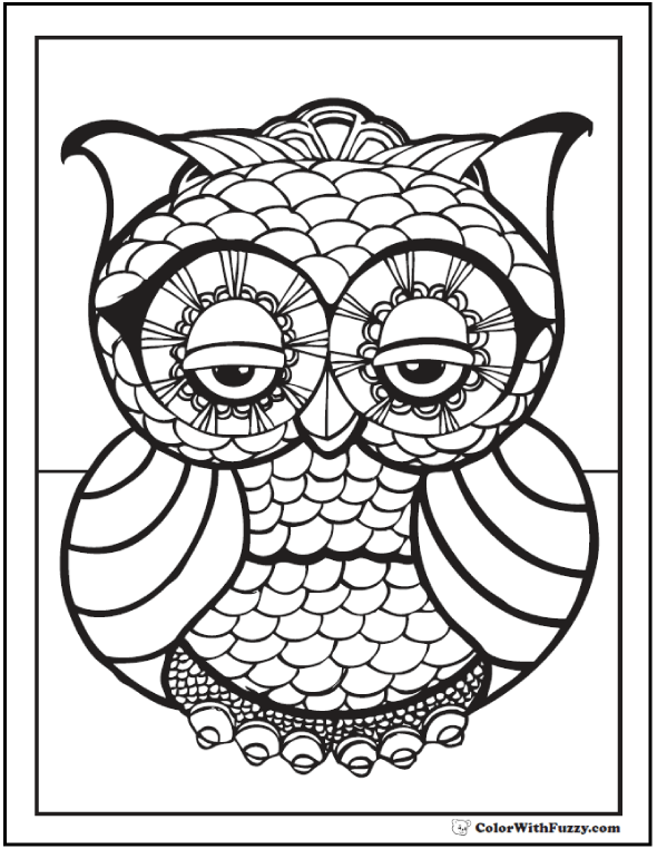 Owl Coloring Pages Pdf : Geometric coloring pages to print and customize