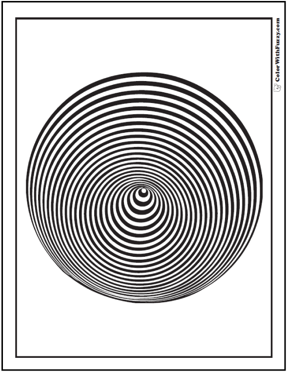 Coloring Pages Geometric Designs: Twisted cone or indented sphere with concentric circles.