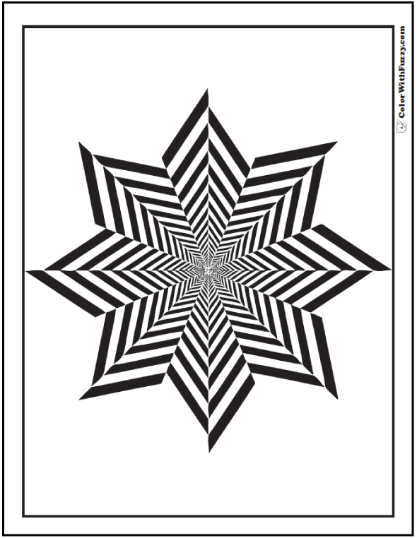 Free Geometric Coloring Sheet: Pinwheel eight point star with thick stripes.