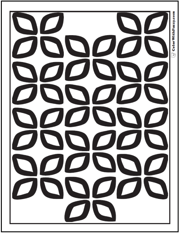 Coloring Pages Geometric Leaf PDF: Patterns of four leaves for spring, summer, or fall leaf themes.