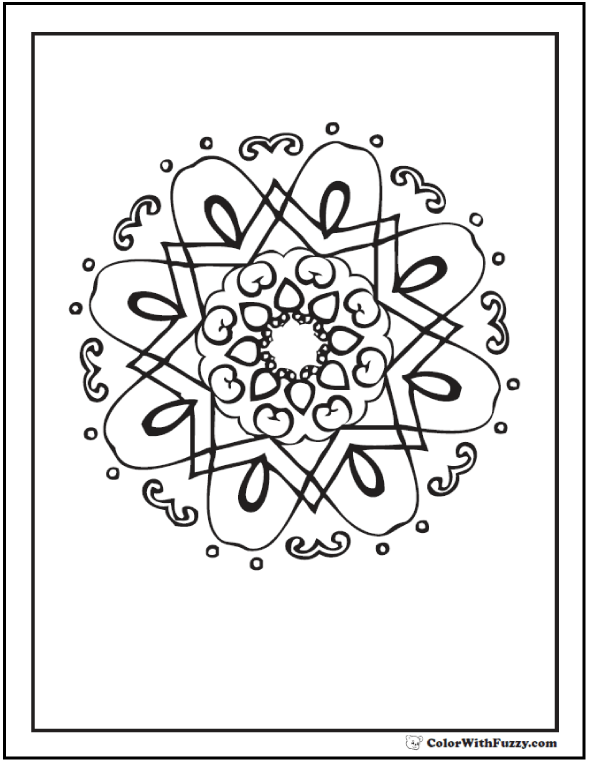 Coloring Pages Geometric Patterns: Kaleidoscope or Dutch pattern.