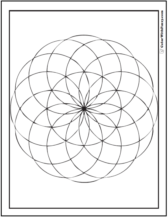 Geometric zinnia coloring page: art class or math class!