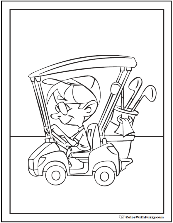 Coloring pages for golf: driving the golf cart with clubs in bag.