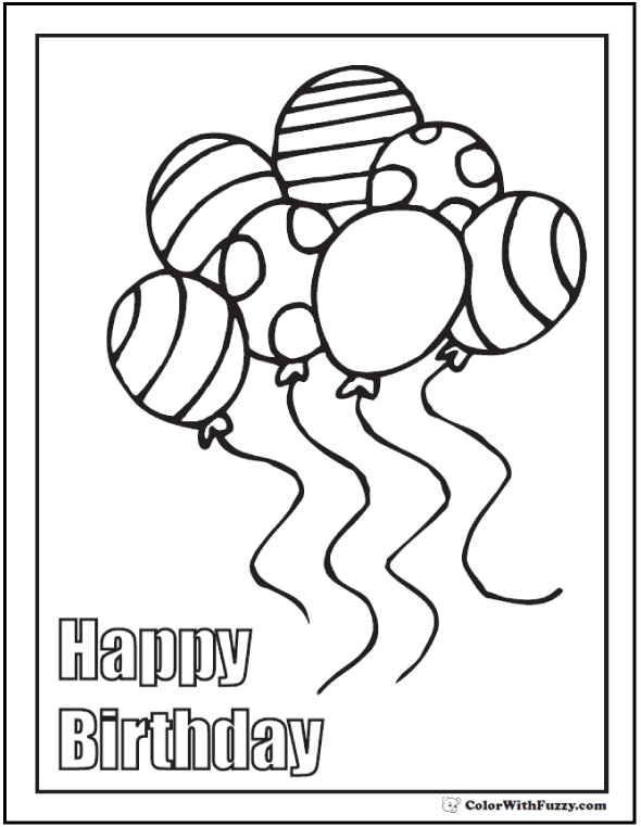 Coloring Pages Happy Birthday - Balloons and Message.