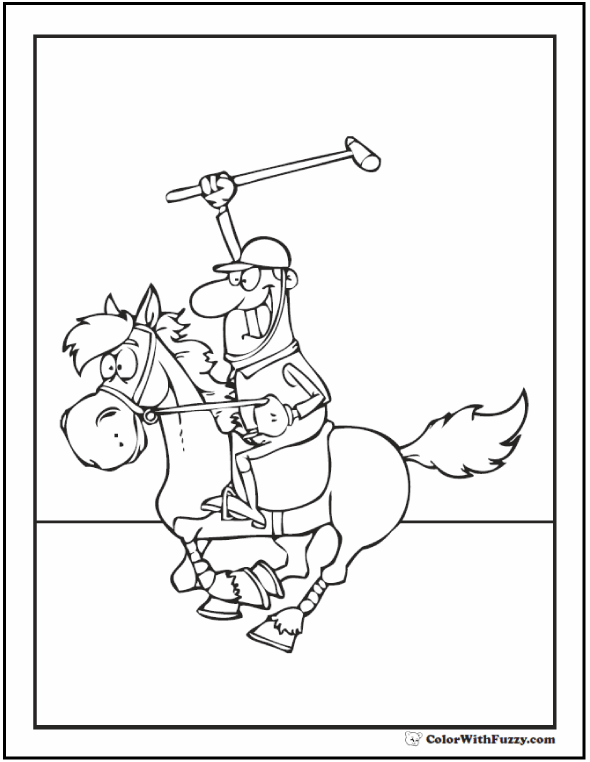 Coloring Pages: Horse Polo game with silly rider.