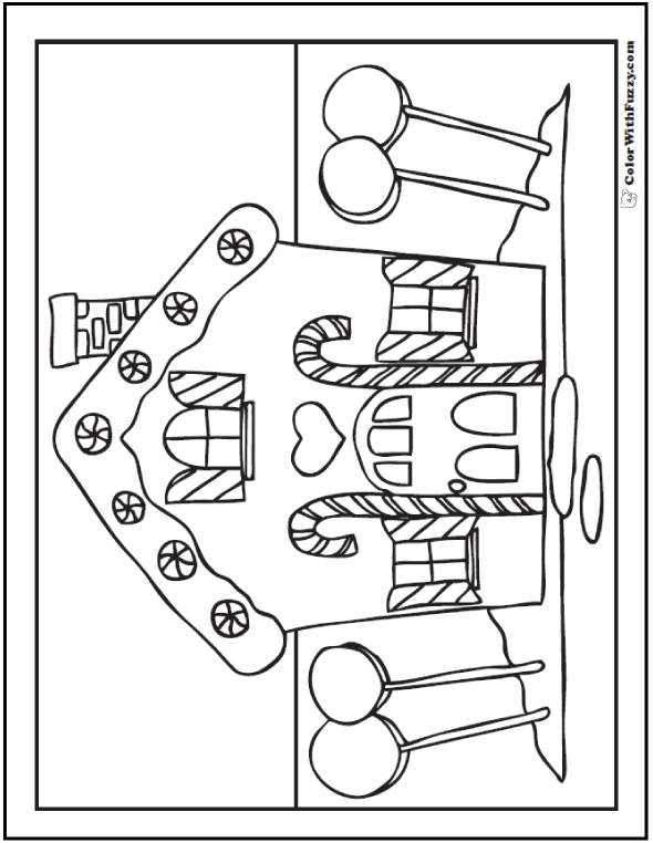 Christmas coloring pictures for Gingerbread house coloring pages