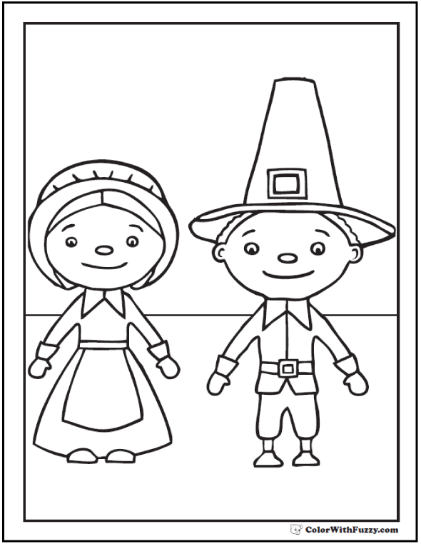 Coloring Pages Pilgrims: hats, buckles, and aprons.